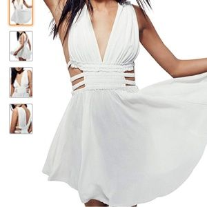 Plunging Neckline Fit Flare Cut-Out Small